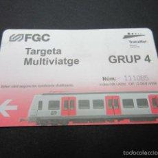 Coleccionismo Billetes de transporte: TARJETA FERROCARRILES GENERALITAT TARJETA MULTIVIAJE -------- GRUPO 4. Lote 58265090