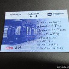 Coleccionismo Billetes de transporte: TARJETA CONMEMORATIVA SALIDA NOCTURNA METRO SERIE 300 BARCELONA FECHA 12/04/2012 . Lote 58365733