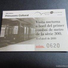 Coleccionismo Billetes de transporte: TARJETA CONMEMORATIVA SALIDA NOCTURNA METRO SERIE 300 BARCELONA FECHA 15/04/2010 . Lote 58365738