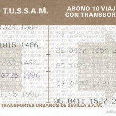 Coleccionismo Billetes de transporte: BONOBUS SEVILLA CON TRASBORDO, USADO. Lote 58390125