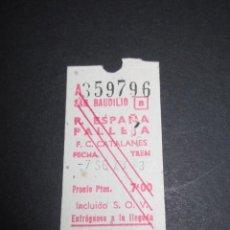 Coleccionismo Billetes de transporte: BILLETE FERROCARRILES CATALANES SAN BAUDILIO ESTACION TRAYECTO PLAZA ESPAÑA PALLEJA . Lote 59125990