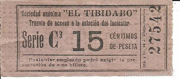 (BT-56)BILLETE 15 CTS.TRANVIA DEL TIBIDABO (Coleccionismo - Billetes de Transporte)