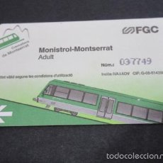 Coleccionismo Billetes de transporte: TARJETA CREMALLERA MONTSERRAT FERROCARRILES GENERALITAT ADULTO. Lote 60138023