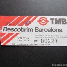 Coleccionismo Billetes de transporte: PRIMER BILLETE DEL BUS TURISTICO DE BARCELONA 1987. Lote 217157917