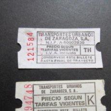 Coleccionismo Billetes de transporte: LOTE 2 BILLETES DISTINTOS TRANVIAS DE ZARAGOZA. Lote 61688296