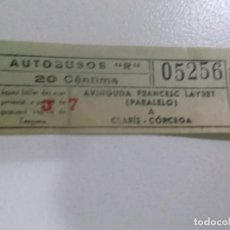 Coleccionismo Billetes de transporte: BILLETE DE AUTOBUS DE 20 CENTIMOS BARCELONA 1930 TRAYECTO AVINGUDA FRANCESC LAYRET PARALELO A CLARI. Lote 62300632