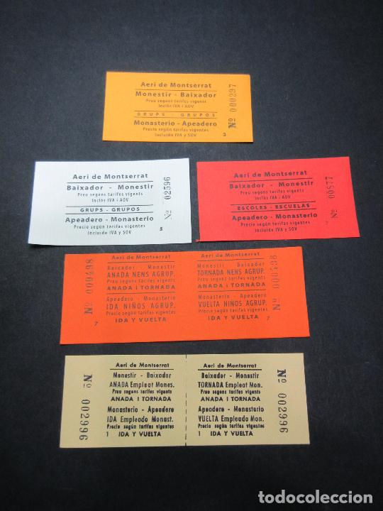 LOTE 5 BILLETES DIFERENTES AEREO DE MONTSERRAT VER... EMPLEADOS, NIÑOS, ESCUELAS, GRUPOS (Coleccionismo - Billetes de Transporte)