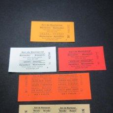 Coleccionismo Billetes de transporte: LOTE 5 BILLETES DIFERENTES AEREO DE MONTSERRAT VER... EMPLEADOS, NIÑOS, ESCUELAS, GRUPOS . Lote 62390856