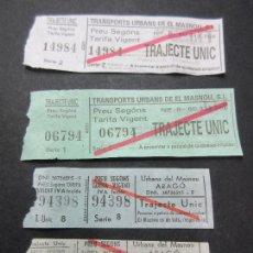 Coleccionismo Billetes de transporte: LOTE 4 BILLETES DIFERENTES TRANSPORTS URBANS EL MASNOU. Lote 62391256