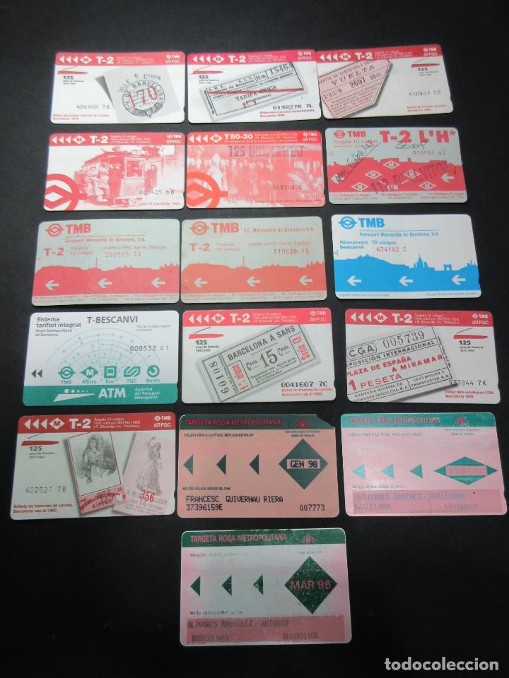 LOTE 16 TARJETAS DIFERENTES TRANSPORTES DE BARCELONA Y ANTIGUAS T ROSAS (Coleccionismo - Billetes de Transporte)
