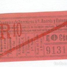 Coleccionismo Billetes de transporte: TRANVIAS DE BARCELONA BILLETE TRANVIAS. Lote 64498675