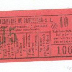Coleccionismo Billetes de transporte: TRANVIAS DE BARCELONA BILLETE TRANVIAS. Lote 64498739