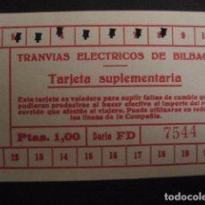 Coleccionismo Billetes de transporte: TRANVIAS ELECTRICOS DE BILBAO - TARJETA SUPLEMENTARIA 1PESETA - VER FOTOS - (V-7177). Lote 65663134