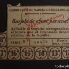 Coleccionismo Billetes de transporte: FERROCARRIL BARCELONA SARRIA S.A. - TARJETA ABONO PERSONAL-UNA PESETA - VER FOTOS - (V-7178). Lote 65663482