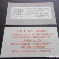 Coleccionismo Billetes de transporte: BILLETE EMPRESA EMT DE MADRID CONMEMORATIVO DESPEDIDA RED TRANVIAS 1 DE JUNIO DE 1972 VER NOTA . Lote 65853062
