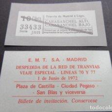 Coleccionismo Billetes de transporte: BILLETE EMPRESA EMT DE MADRID CONMEMORATIVO DESPEDIDA RED TRANVIAS 1 DE JUNIO DE 1972 VER NOTA . Lote 65853110