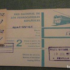 Coleccionismo Billetes de transporte: ANTIGUO BILLETE DE TREN.RENFE.MADRID-RENFE.1970. Lote 66108402