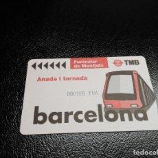 Coleccionismo Billetes de transporte: TARJETA FUNICULAR DE MONTJUICH BARCELONA - AÑADA I TORNADA IDA Y VUELTA. Lote 67573381