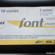 Coleccionismo Billetes de transporte: TARJETA EMPRESA FONT RIPOLLES 10 VIAJES 2 ZONAS AÑO 2007. Lote 67716097
