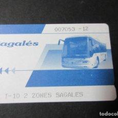 Coleccionismo Billetes de transporte: TARJETA EMPRESA SAGALES T-10 2 ZONAS AÑO 2012. Lote 142600002