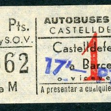 Coleccionismo Billetes de transporte: BILLETE DE AUTOBUSES RUE // CASTELLDEFELS. Lote 68328177
