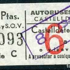 Coleccionismo Billetes de transporte: BILLETE DE AUTOBUSES RUE // CASTELLDEFELS. Lote 68328221
