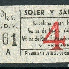 Coleccionismo Billetes de transporte: BILLETE DE AUTOBUSES RUE // CASTELLDEFELS. Lote 68328269