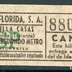 Coleccionismo Billetes de transporte: BILLETE DE AUTOS FLORIDA, S.A. // HOSPITALET DEL LLOBREGAT. Lote 68328445