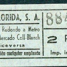 Coleccionismo Billetes de transporte: BILLETE DE AUTOS FLORIDA, S.A. // HOSPITALET DEL LLOBREGAT. Lote 68328457