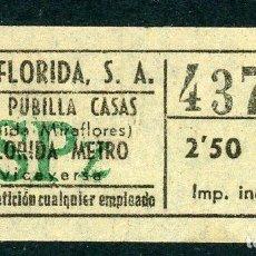 Coleccionismo Billetes de transporte: BILLETE DE AUTOS FLORIDA, S.A. // HOSPITALET DEL LLOBREGAT. Lote 68328501