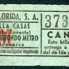 Coleccionismo Billetes de transporte: BILLETE DE AUTOS FLORIDA, S.A. // HOSPITALET DEL LLOBREGAT. Lote 68328541