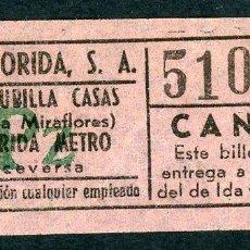 Coleccionismo Billetes de transporte: BILLETE DE AUTOS FLORIDA, S.A. // HOSPITALET DEL LLOBREGAT. Lote 68328557
