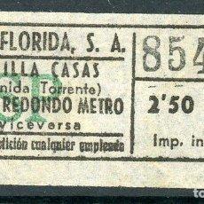 Coleccionismo Billetes de transporte: BILLETE DE AUTOS FLORIDA, S.A. // HOSPITALET DEL LLOBREGAT. Lote 68383842