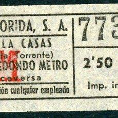 Coleccionismo Billetes de transporte: BILLETE DE AUTOS FLORIDA, S.A. // HOSPITALET DEL LLOBREGAT. Lote 68328665