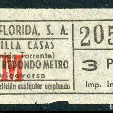 Coleccionismo Billetes de transporte: BILLETE DE AUTOS FLORIDA, S.A. // HOSPITALET DEL LLOBREGAT. Lote 68328697