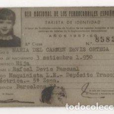 Coleccionismo Billetes de transporte: (ALB-TC-5) TARJETA DE IDENTIDAD RED NACIONAL FERROCARRILES ESPAÑOLES 1957-60 2 CLASE. Lote 70270893