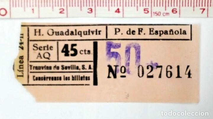 BILLETE DE TRANVIA DE SEVILLA. 45 CTS. (Coleccionismo - Billetes de Transporte)