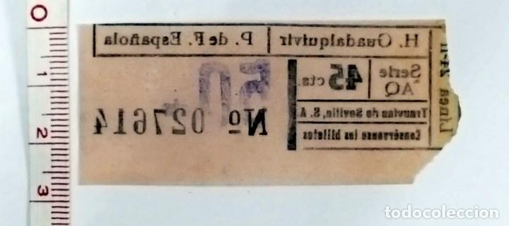 Coleccionismo Billetes de transporte: Billete de tranvia de Sevilla. 45 cts. - Foto 2 - 71047217