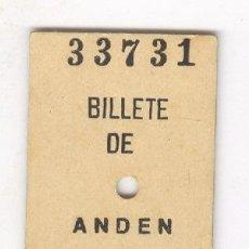 Coleccionismo Billetes de transporte: BILLETE DE ANDEN . ANTIGUO BILLETE EDMONSON FERROCARRIL TREN . Lote 71120697