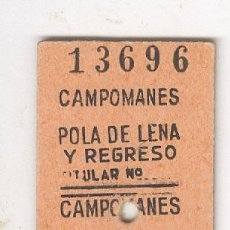 Colecionismos Bilhetes de Transporte: CAMPOMANES POLA DE LENA . ANTIGUO BILLETE EDMONSON FERROCARRIL TREN ASTURIAS. Lote 71127913