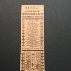 Coleccionismo Billetes de transporte: BILLETE AUTOMNIBUS INTERURBANO LÍNEA MADRID HERENCIA. Lote 82933143