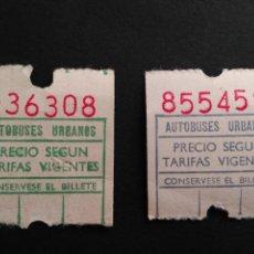 Coleccionismo Billetes de transporte: LOTE 2 BILLETES AUTOBUSES URBANOS. Lote 71534755