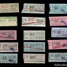 Coleccionismo Billetes de transporte: 15 BILLETES TRANSPORTE, AUTOBUS - TRANVIA DE BARCELONA.. Lote 72877535