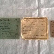 Coleccionismo Billetes de transporte: BILLETES ANTIGUOS DAMAS SEVILLA BRENES. PASE RADIO SEVILLA. Lote 73018871