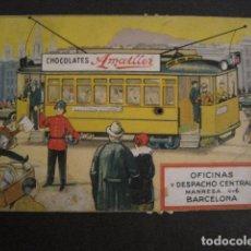 Coleccionismo Billetes de transporte: TRANVIAS DE BARCELONA - TARJETA MOVIMIENTO - PUBLICIDAD CHOCOLATES AMATLLER -VER FOTOS- (V-8432). Lote 73811663