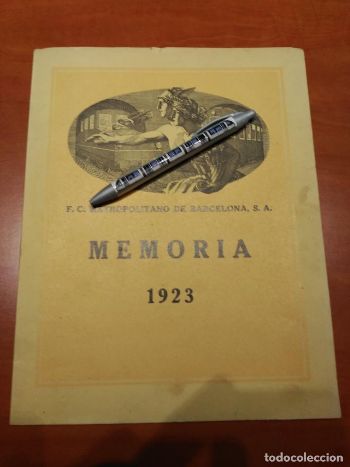 MEMORIA FERROCARRIL METROPOLITANO DE BARCELONA EL TRANSVERSAL AÑO 1923 (Coleccionismo - Billetes de Transporte)