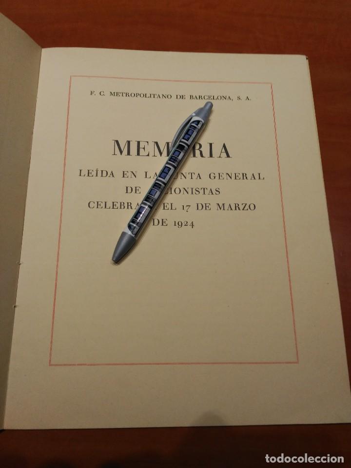 Coleccionismo Billetes de transporte: MEMORIA FERROCARRIL METROPOLITANO DE BARCELONA EL TRANSVERSAL AÑO 1923 - Foto 2 - 74182619