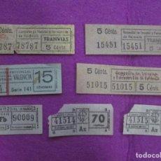 Coleccionismo Billetes de transporte: BILLETES TRANSPORTE, LOTE 7 BILLETES TRANVIA CAPICUAS, . Lote 74719115