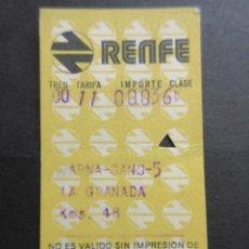 Coleccionismo Billetes de transporte: BILLETE HUGIN RENFE BARNA LA GRANADA 1974. Lote 75029295