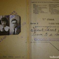 Coleccionismo Billetes de transporte: BILLETE KILOMETRICO TARIFA 109 1ª CLASE 5000 KILOMETROS 1935-36. Lote 75157911